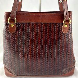 BRAHMIN Vintage Woven Leather Shoulder Bag